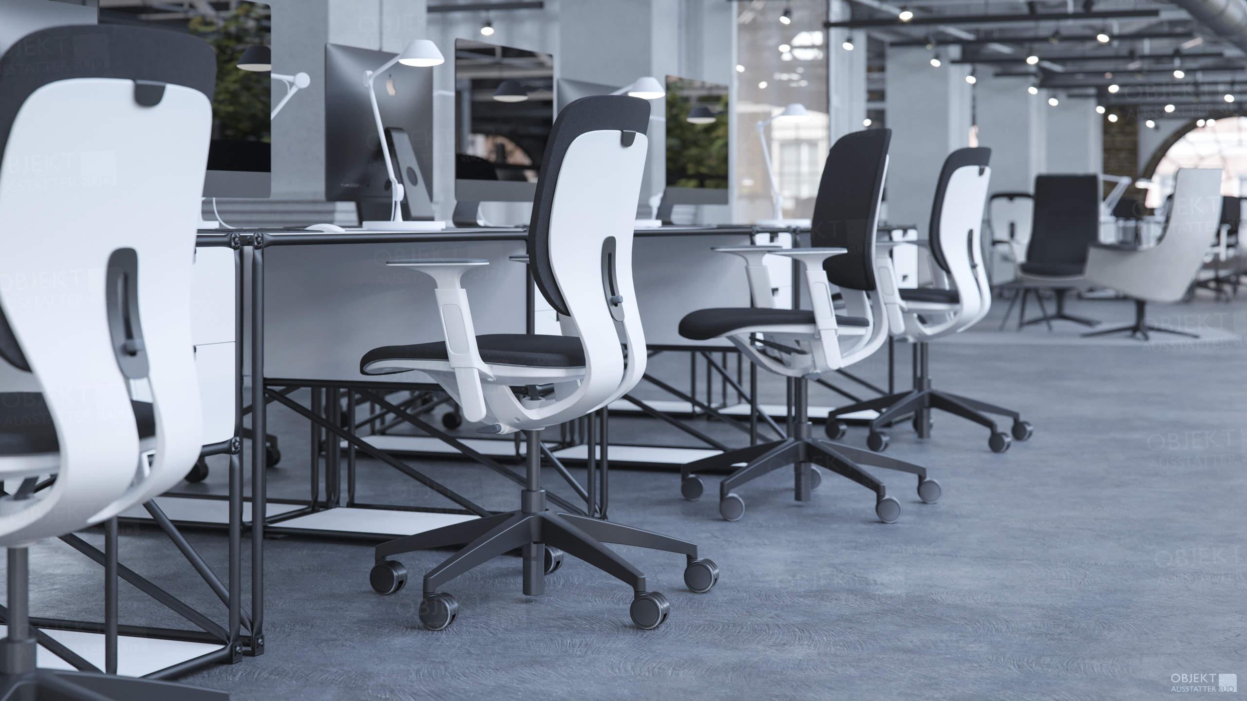 Modernes Großraumbüro zeitgemäß eingerichtet von den Objektausstattern Süd!